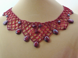 Ruby Picasso Netted Necklace - close up